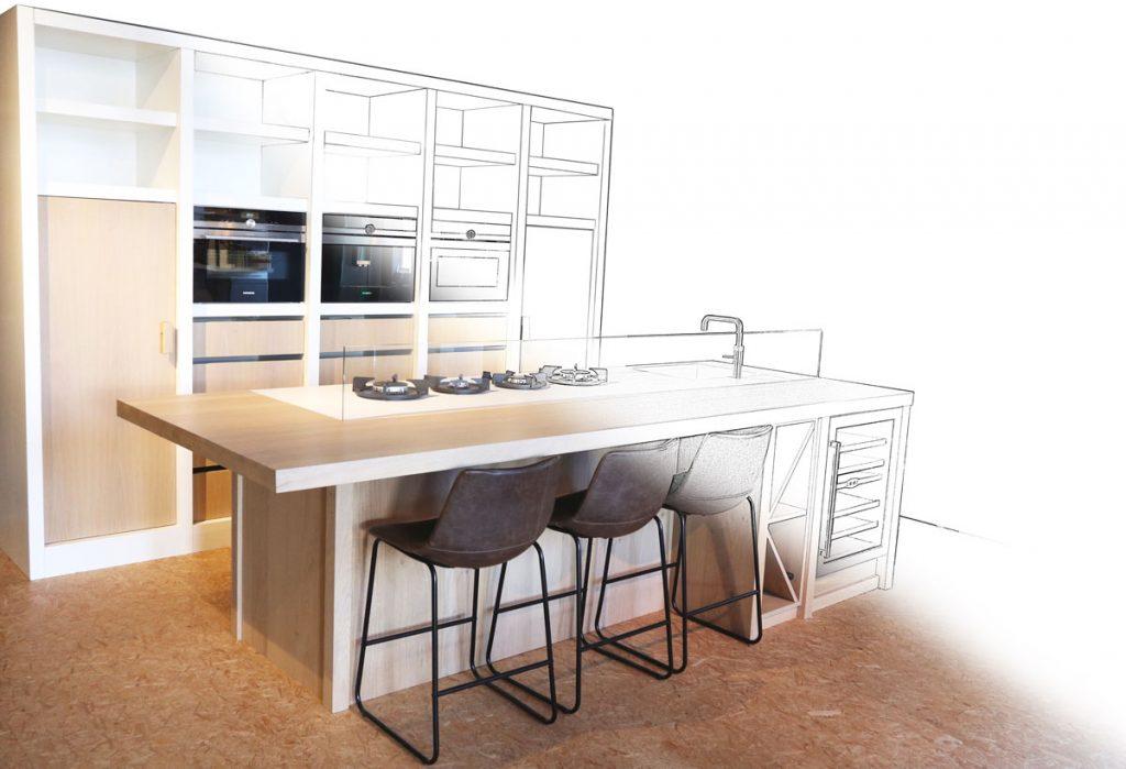 Keukenontwerp op maat bij Prelux design